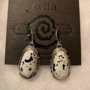 Avila White Buffalo sterling silver earrings